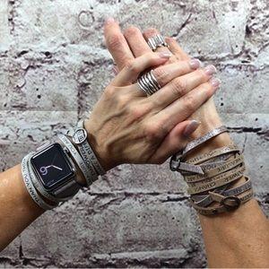 GoodWorks Jewelry - Rocker Gunmetal Leather Wrap Bracelet Crystals